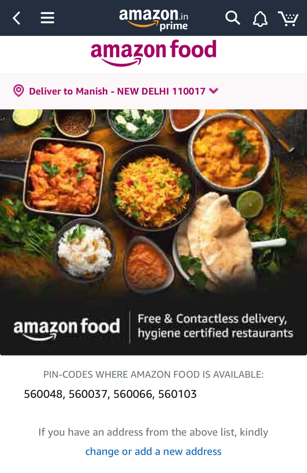 Amazon has launched a food delivery service in India