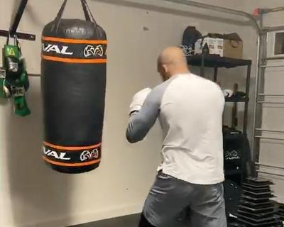 Badou Jack goes to town on his punching bag!
