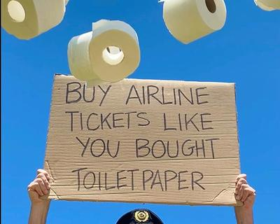 Airline pilot asks people to 'buy airline tickets' like they 'bought toilet paper'