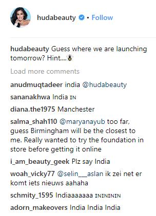 Huda Beauty Comments